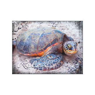 """Relax"" Quote Fun Hawaii Sea Turtle Close-up Photo Canvas Print"