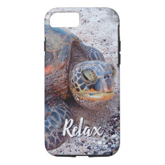 """Relax"" Quote Fun Hawaii Sea Turtle Close-up Photo iPhone 8/7 Case"