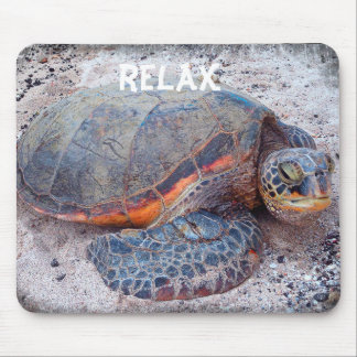 """Relax"" Quote Hawaiian Sea Turtle Close-up Photo Mouse Pad"