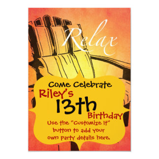 Relax Red Orange Adirondack Chair Summer Beach The 13 Cm X 18 Cm Invitation Card