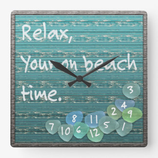 Relax, Sea Glass Beach Driftwood Ocean Square Wall Clock
