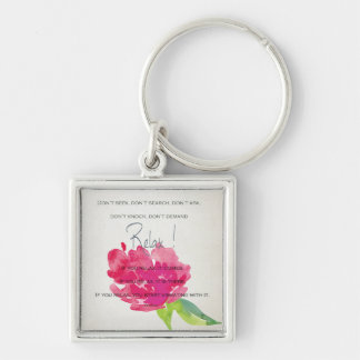 RELAX TO RECEIVE, TO VIBRATE BRIGHT PINK FLORAL KEY RING