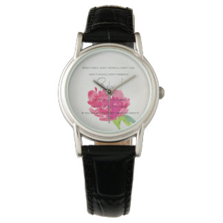 RELAX TO RECEIVE, TO VIBRATE BRIGHT PINK FLORAL WRIST WATCH