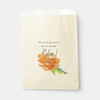 RELAX TO RECEIVE, TO VIBRATE ORANGE FLORAL FAVOUR BAG