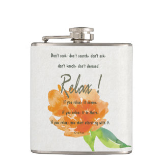 RELAX TO RECEIVE, TO VIBRATE ORANGE FLORAL HIP FLASK