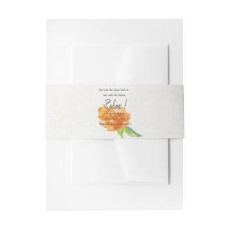 RELAX TO RECEIVE, TO VIBRATE ORANGE FLORAL INVITATION BELLY BAND