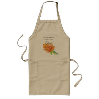 RELAX TO RECEIVE, TO VIBRATE ORANGE FLORAL LONG APRON
