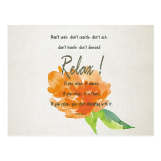 RELAX TO RECEIVE, TO VIBRATE ORANGE FLORAL POSTCARD