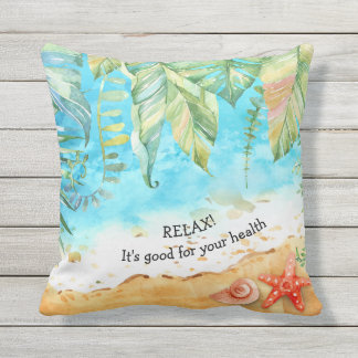 Relax Tropical Beach Outdoor Decor Throw Pillow