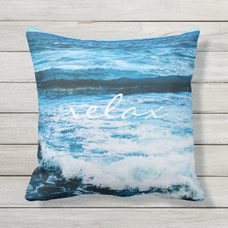 """""""Relax"""" turquoise ocean waves photo throw pillow"""