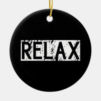 Relax - White Word On Black Background Round Ceramic Decoration