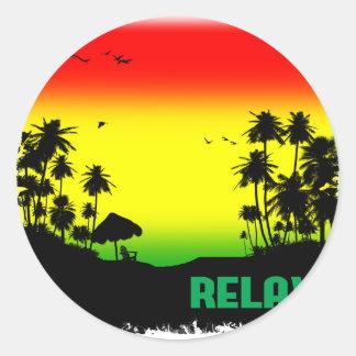 relaxation rasta classic round sticker