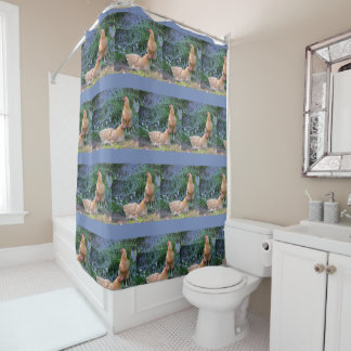 Relaxed Chickens Shower Curtain