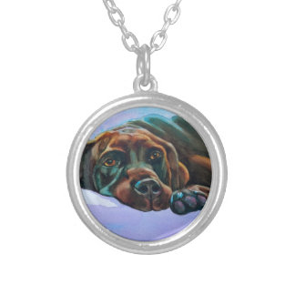 Relaxed Chocolate Lab Dog Round Pendant Necklace
