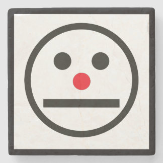 Relaxed Face Expression with Red Nose Stone Coaster