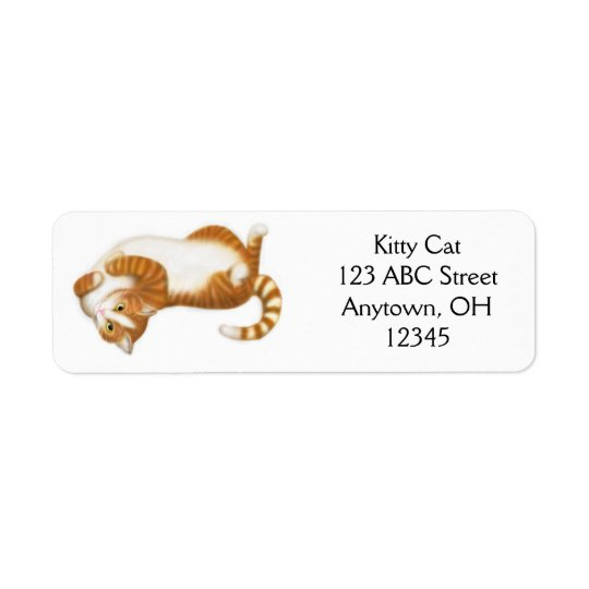 Relaxed Ginger Tabby Cat Label Return Address Label