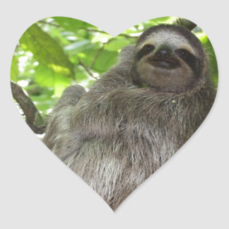 Relaxed Sloth in Nature Heart Sticker