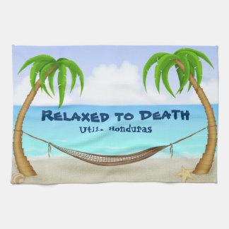 Relaxed to Death Utila Honduras Beach Tea Towel