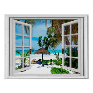 Relaxing Beach and Ocean Faux Window View Poster