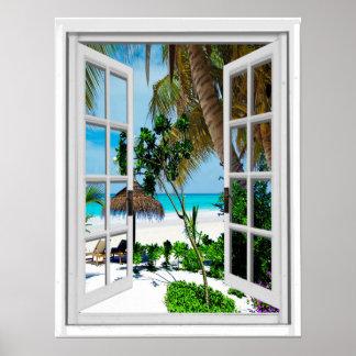 Relaxing Beach Artificial Window View Poster