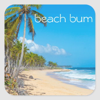 Relaxing beach scene, beach bum text square sticker