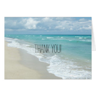 Relaxing Beach View White Sand Thank You Note Card
