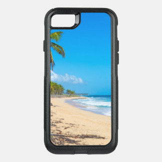 Relaxing beach with palm trees & ocean waves OtterBox commuter iPhone 8/7 case