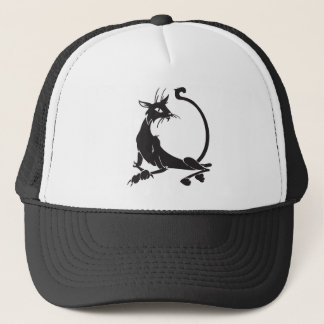 Relaxing Black Cat Trucker Hat