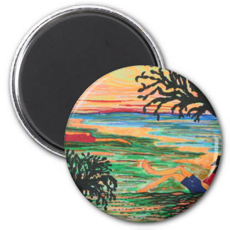Relaxing by the Shore Refrigerator Magnet