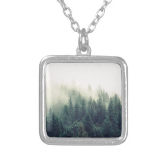 Relaxing Calming Foggy Forest Scene Silver Plated Necklace