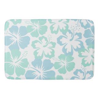 Relaxing floral blue hibiscus bath mat