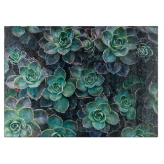 Relaxing Green Blue Succulent Cactus Plants Cutting Board