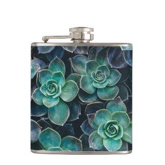 Relaxing Green Blue Succulent Cactus Plants Hip Flask