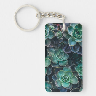 Relaxing Green Blue Succulent Cactus Plants Key Ring