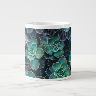 Relaxing Green Blue Succulent Cactus Plants Large Coffee Mug