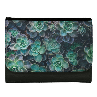 Relaxing Green Blue Succulent Cactus Plants Leather Wallet For Women