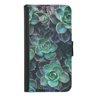 Relaxing Green Blue Succulent Cactus Plants Samsung Galaxy S5 Wallet Case
