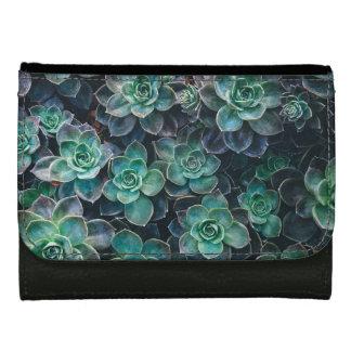 Relaxing Green Blue Succulent Cactus Plants Wallet