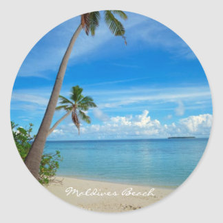 Relaxing Maldives Beach - Classic Round Sticker