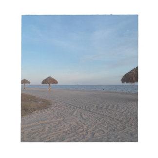 Relaxing Ocean Beach Witth Palm Tree Umbrellas Notepad