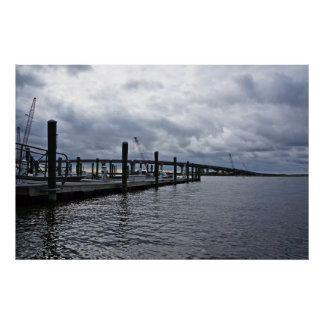 Relaxing Ocean City Dock Overcast (New Jersey) Poster