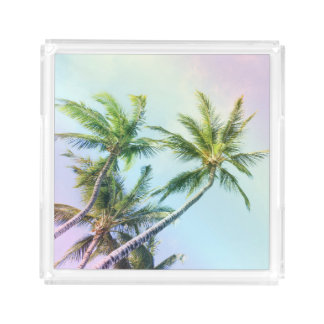 Relaxing Rainbow Color Palms Acrylic Tray