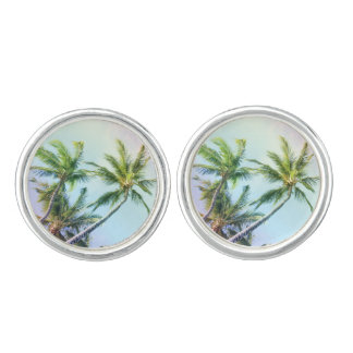 Relaxing Rainbow Color Palms Cufflinks