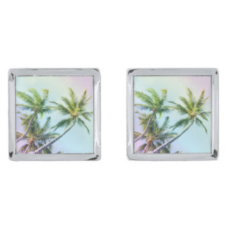 Relaxing Rainbow Color Palms Silver Finish Cuff Links