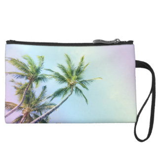 Relaxing Rainbow Color Palms Suede Wristlet