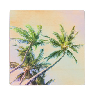 Relaxing Rainbow Color Palms Wood Coaster