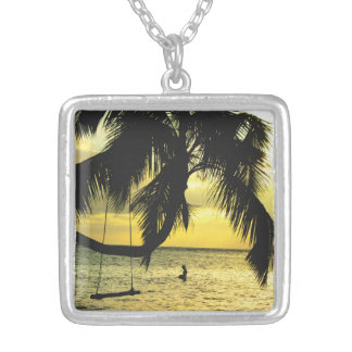 Relaxing Romantic Beach Scence Silver Plated Necklace