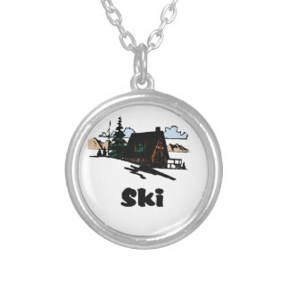 Relaxing Ski Lodge Silver Plated Necklace