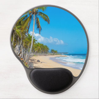 Relaxing tropical beach. Blue skies, palm trees Gel Mouse Pad