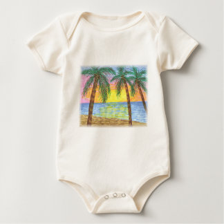 Relaxing Tropical Beach Palm Trees Baby Bodysuit